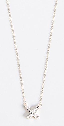 Adina Reyter - 14k Gold Super Tiny Solid Pave X Necklace