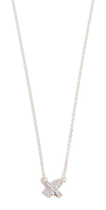 Adina Reyter 14k Gold Super Tiny Solid Pave X Necklace - Yellow Gold