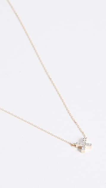 Adina Reyter 14k Gold Super Tiny Solid Pave X Necklace