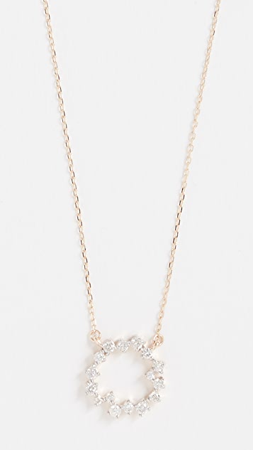 Adina Reyter 14K Gold Scattered Diamond Small Circle Necklace