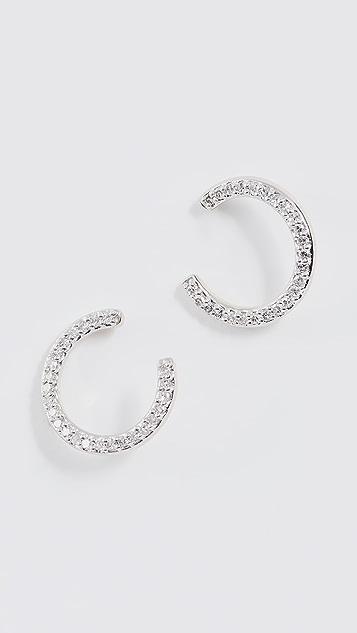Adina Reyter 14K Gold Pave Wrap Hoop Earrings - Yellow Gold