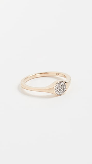 Adina Reyter 14K Gold Small Pave Signet Ring - Yellow Gold