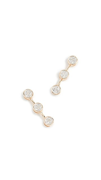 Adina Reyter 14k Gold 3 Diamond Earrings