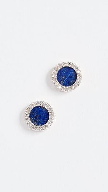 Adina Reyter 14k Gold Lapis Diamond Disc Earrings