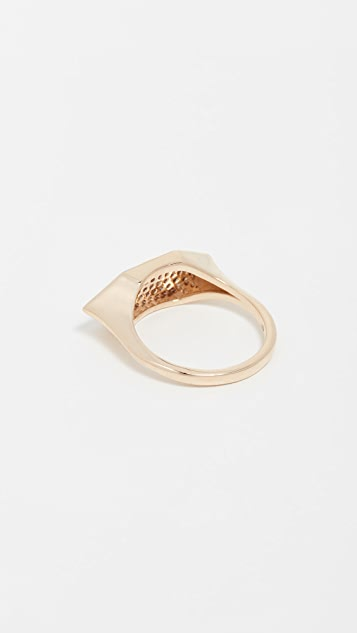 Adina Reyter 14k Gold Pave Stretched Hexagon Signet Ring