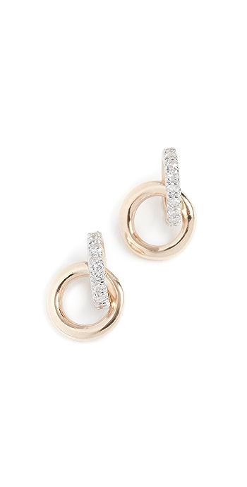 Adina Reyter 14k Diamond Interlocking Loop Post Earrings - Yellow Gold