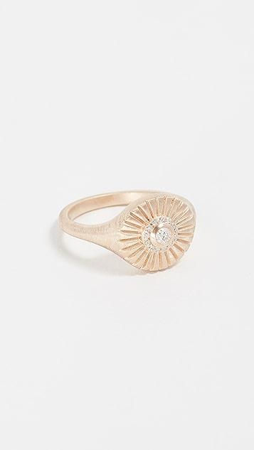 Adina Reyter Кольцо Rays из 14-каратного золота с печаткой и бриллиантами