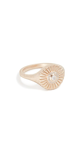 Adina Reyter 14k Diamond Rays Signet Ring