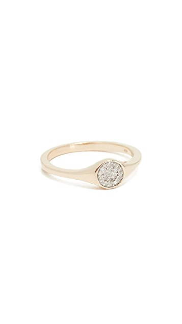 Adina Reyter 14K Small Solid Pave Diamond Signet Ring