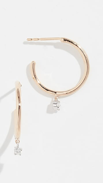 Adina Reyter Серьги-кольца из 14-каратного золота с подвесками с бриллиантами среднего размера