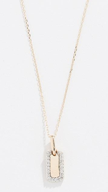 Adina Reyter 14k Diamond Tiny Pave Dog Tag Necklace