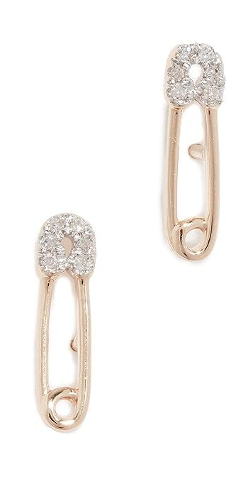Adina Reyter 14k Diamond Safety Pin Post Earrings - Yellow Gold