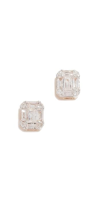 Adina Reyter 14k Gold Diamond Baguette Stud Earrings - Yellow Gold
