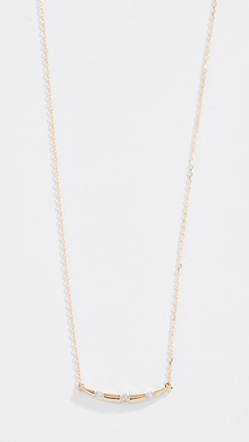 Adina Reyter 14k Small Diamond Stripe Curve Necklace