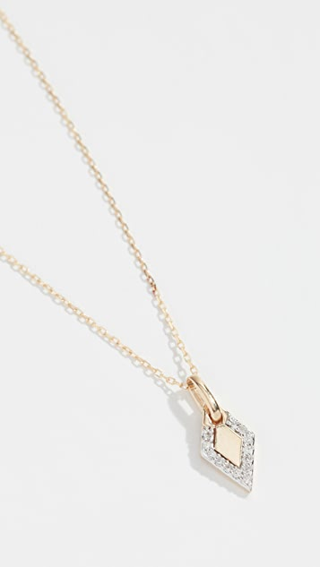 Adina Reyter 14k Tiny Pavé Diamond Dog Tag Necklace
