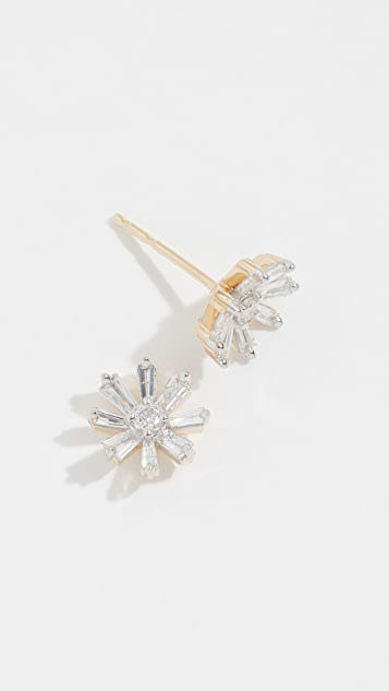 Adina Reyter 14k Diamond Baguette Flower Post Earrings