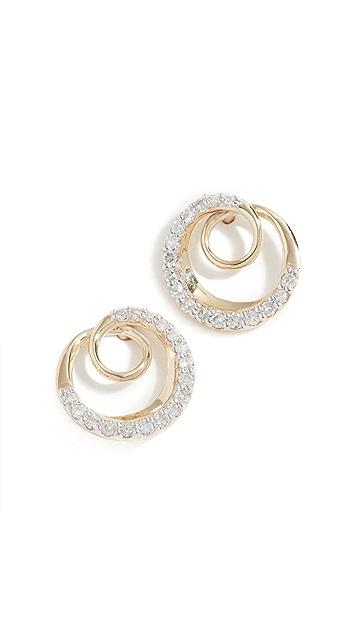 Adina Reyter Серьги-гвоздики Swirl из 14-каратного золота с паве