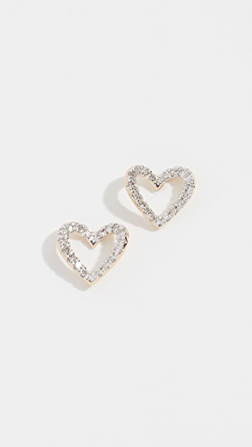 Adina Reyter 14k Tiny Pavé Open Folded Heart Post Earrings
