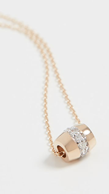 Adina Reyter 14k Super Tiny Stripe Pavé Barrel Necklace