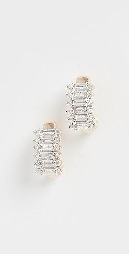 Adina Reyter - 14k Stack Baguette J Hoop Earrings