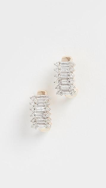 Adina Reyter Наборные серьги-кольца J из 14-каратного золота с кристаллами огранки «багет»