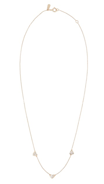 Adina Reyter 14k Pavé Folded Heart Chain Necklace