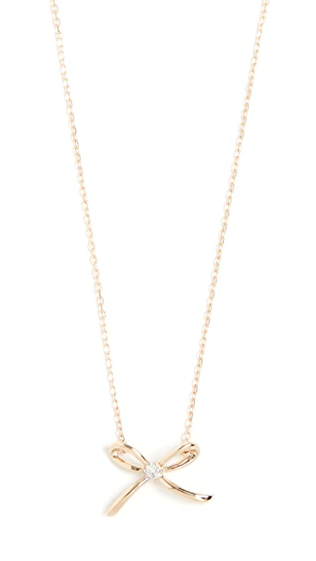 Adina Reyter 14k Tiny Diamond Bow Necklace