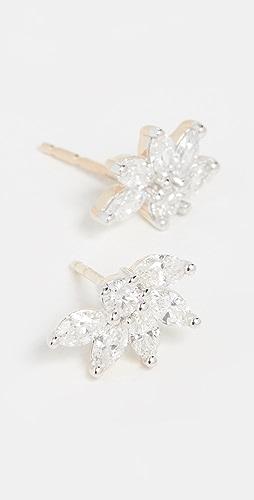 Adina Reyter - 14k Grace Half Flower Marquise Post Earrings