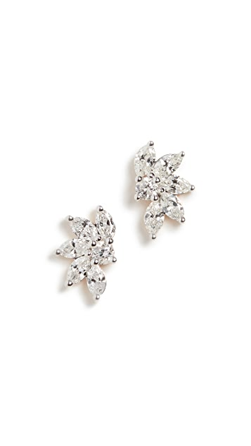 Adina Reyter 14k Grace Half Flower Marquise Post Earrings