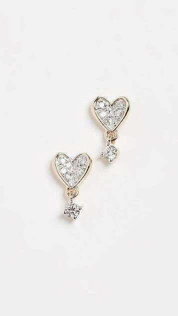 Adina Reyter Миниатюрные серьги-гвоздики Folded из 14-каратного золота в виде сердечек с паве