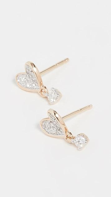 Adina Reyter 14k Tiny Pavé Folded Heart Post Earrings