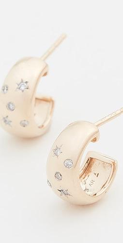 Adina Reyter - 14k Celestial Diamonds Wide Huggie Hoops
