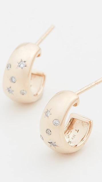 Adina Reyter 14k Celestial Diamonds Wide Huggie Hoops
