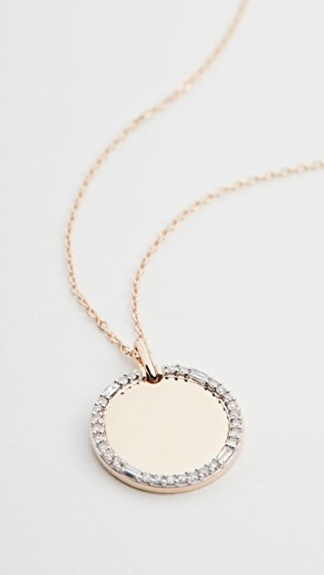 Adina Reyter 14k Round Pavé + Baguette Dog Tag Necklace