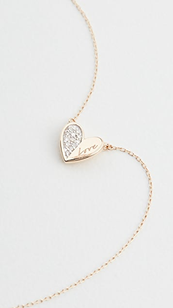 Adina Reyter 14k Love Pavé Folded Heart Necklace