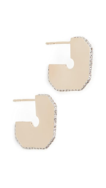 Adina Reyter 14k 方形密镶 + 长方形标签圈式耳环