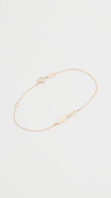 Adina Reyter Браслет из 14-каратного золота Love с украшенной бриллиантами полоской