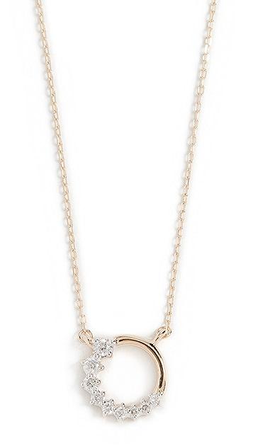 Adina Reyter 14k 超级小巧侧边钻石圆圈项链