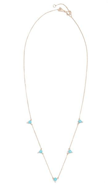 Adina Reyter 14k Turquoise + Round Diamond Chain Necklace