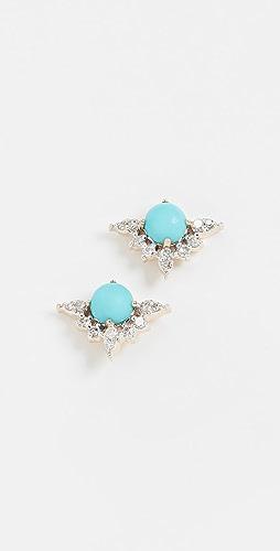 Adina Reyter - 14k Turquoise + Marquise Diamond Post Earrings