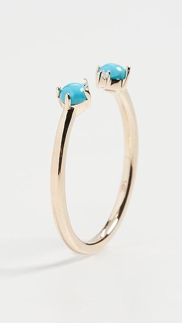 Adina Reyter 14k Turquoise + Round Diamond Ring