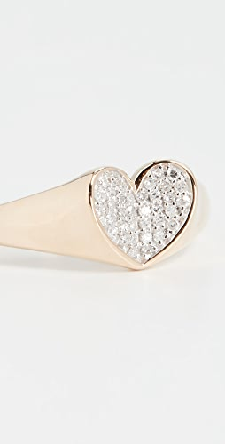 Adina Reyter - 14k Pavé Folded Heart Signet Ring