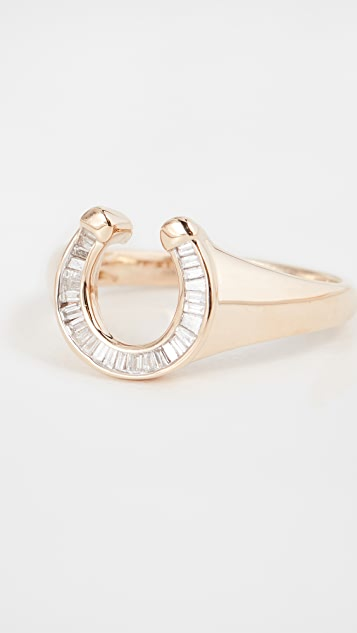 Adina Reyter 14k Baguette Horseshoe Signet Ring