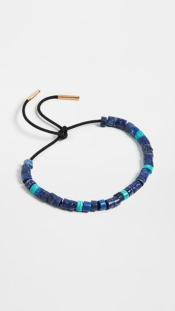 Adina Reyter Turquoise & Lapis Leather Bracelet Set