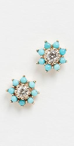Adina Reyter - Tiny Turquoise and Diamond Flower Earrings