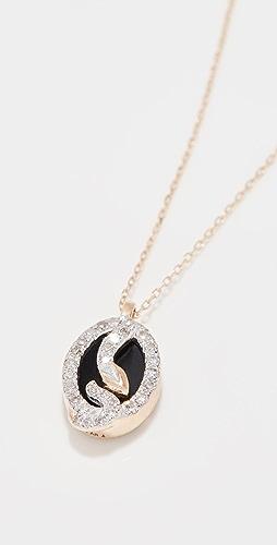 Adina Reyter - Tiny Onyx and Diamond Oval Snake Pendant