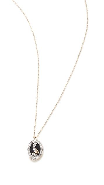 Adina Reyter Tiny Onyx and Diamond Oval Snake Pendant
