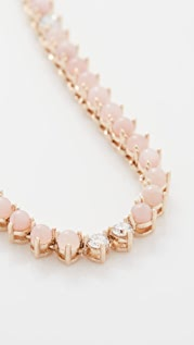 Adina Reyter 粉色猫眼石和钻石半长 Riviera 项链