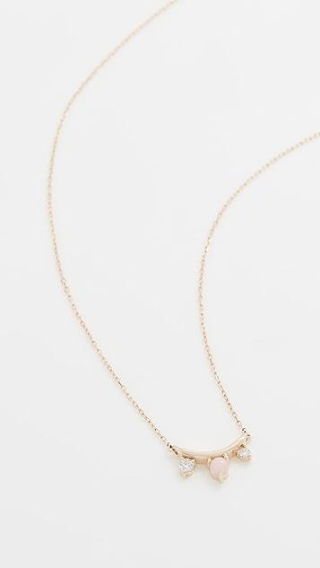 Adina Reyter Pink Opal and Diamond Amigos Curve Necklace