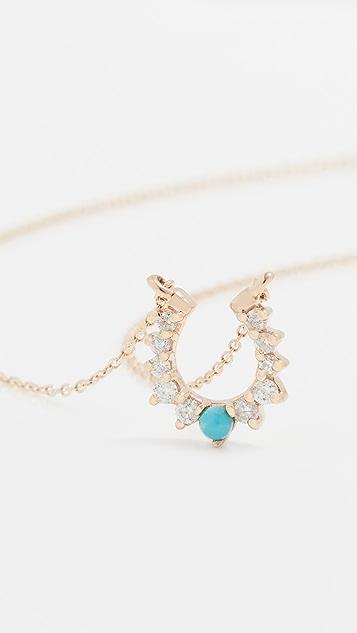 Adina Reyter Turquoise + Diamond Horseshoe Necklace